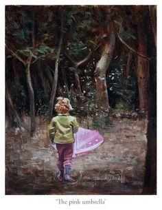 """The pink umbrella - Original Fine Art for Sale - © Erik van Elven Pink Umbrella, Umbrella Art, Under My Umbrella, Art For Sale, Buy Art, Original Paintings, Sketches, Museum, Fine Art"