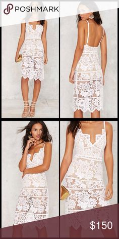 FOR LOVE & LEMONS 💕 Gianna Midi Dress NWT Lace down, class up. The Gianna Dress comes in red sheer lace and features embroidered floral detailing throughout, thin adjustable shoulder straps, scalloped V-neckline and hem, hidden back zip and hook closure, bodycon midi silhouette, and beige bodysuit with snap closure.  NWT   *Cotton/Nylon/Spandex  *Runs true to size  *Model wears size S  *Dry clean only  *Imported For Love and Lemons Dresses Midi