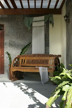 Beyond the entrance a traditional Filipino bench was placed as a foreshadowing of indigenous elements to come.