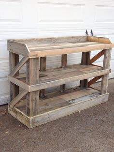 """Buffet table. Or could be a dresser with baskets added to it. My favorite piece I've made so far. But it's 60""""L x 21""""D x 40""""H."""