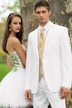 white and gold prom tux | Home > Tuxedos > Quinceañera Collection