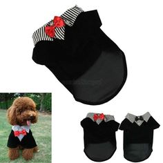 Clothing for dogs Puppy Pet Dog Clothes Cotton Western Style Male Suit & Bow Tie #Unbranded