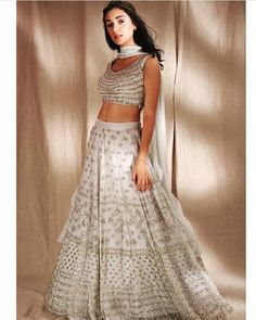 White Gold Lehenga - Astha Narang, The Grand Trunk is the first official store to carry Indian Designer's Clothes including Sabyasachi Lehenga White, Raw Silk Lehenga, Indian Lehenga, Bridal Lehenga Choli, Indian Designer Outfits, Designer Dresses, Designer Lehanga, Indian Dresses, Indian Outfits