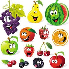 FREE Cartoon-Fruits-&-Vegetables-Vector