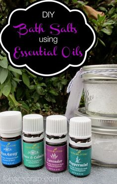 DIY Bath Salts Using Essential Oils-- really easy to make and a great gift idea too!