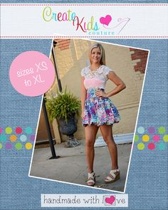 This beautiful bubble skirt is sew much fun! It is perfect for all seasons! Pair with flip flops for a fun summer look or tights for the colder months! We include instructions for shirring the waistband or using elastic. Use fancy fabrics for the holidays or use a bright, bold print to make a statement in the summer.