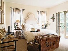The bedroom connects to the garden via French doors. (Photo: Megan Thompson)  So peaceful....