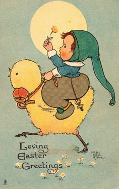 """Loving Easter Greetings"" ~ Vintage Postcard by Mabel Lucie Attwell . Easter Greeting Cards, Vintage Greeting Cards, Vintage Postcards, Easter Vintage, Vintage Holiday, Easter Art, Easter Crafts, Easter Decor, Easter Centerpiece"