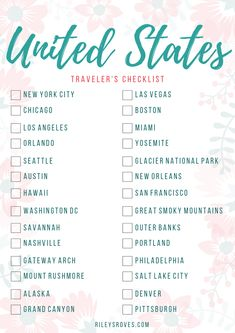 Checkliste für Reisende in den Vereinigten Staaten von Amerika – Holiday Checklist for travelers to the United States of America Free Travel, Travel List, Travel Packing, Usa Travel, Travel Bucket Lists, Europe Bucket List, Packing Lists, Travel And Tourism, Travel Goals
