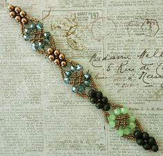 "CELTIC BRACELET   15/0 seed beads Miyuki ""Dark Bronze"" (15-457D)  4mm pearls ""Antique Brass #13"" ( Beads One )  4mm bicones ""Denim Blue"" ..."