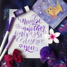 In another universe ~ Hand lettering by Paola Jane . #fontstore #phongchuviet #typography #handlettering #lettering #watercolor #brushlettering #paola_koala