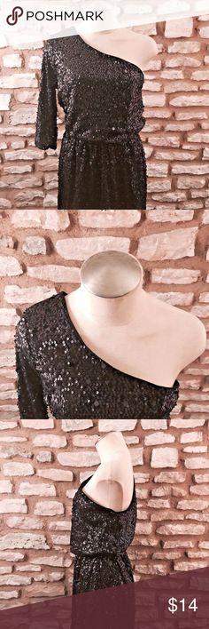 Forever 21 Black Sequins One Shoulder Dress L Forever 21 Black Sequins One Shoulder Dress Size:  Women's L Excellent Condition.  Super Cute! Forever 21 Dresses One Shoulder