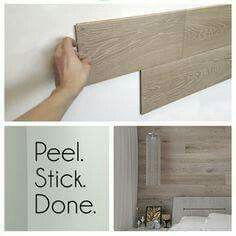 Love this idea.  Peel and stick fake wood panels.