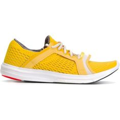 Adidas By Stella Mccartney Perforated Sneakers (105 CAD) ❤ liked on Polyvore featuring shoes, sneakers, perforated sneakers, yellow sneakers, perforated shoes, adidas trainers and yellow shoes