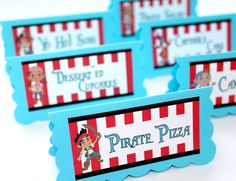 Jake and the Neverland Pirates Birthday Party - Food Table Tent Cards