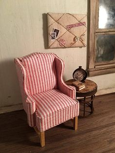 Miniature Dollhouse Wing Chair  Vintage Style Red and Ecru