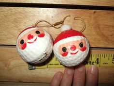 lot 2 vintage plastic golf ball santa face christmas ornament feather tree japan