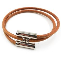 Authentic Hermes Palladium H Leather Double Bracelet (€202) ❤ liked on Polyvore featuring jewelry, bracelets, hermes jewelry, leather jewelry, leather bangle, hermes bangle and hermès