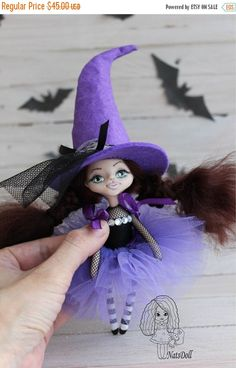 ON SALE Halloween witch doll clay doll Art clay doll  by NatsDoll
