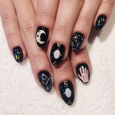 witchy opal stiletto nails