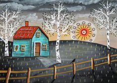 Sunset 5x7inch ORIGINAL Canvas Panel PAINTING House Sun Bird FOLK ART Karla G #FolkArtAbstractPrimitiveLandscape