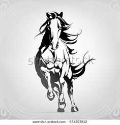 Find Vector Silhouette Running Horse stock images in HD and millions of other royalty-free stock photos, illustrations and vectors in the Shutterstock collection. Thousands of new, high-quality pictures added every day. Horse Pencil Drawing, Horse Drawings, Art Drawings, Running Drawing, Horse Stencil, Horse Tattoo Design, Doodle Drawing, Horse Sketch, Lion Wallpaper