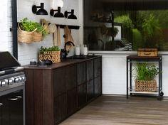 Black Decor, Outdoor Areas, Garden Design, Kitchen Cabinets, Tv, Patio, Garden Ideas, Home Decor, Terrace
