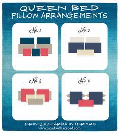queen bed pillow arrangement ideas | www.meadowlakeroad.com