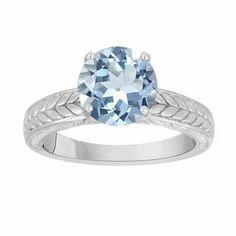 Platinum Aquamarine Aquamarine Engagement Ring, Solitaire Engagement Ring, Bridal Ring, Vintage Style Engraved 1.07 Carat 14K White Gold Handmade Certified Ring, Solitaire Engagement Ring, Bridal Ring, Unique Vintage Style Engraved 1.07 Carat Certified