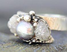 raw diamonds and pearl.