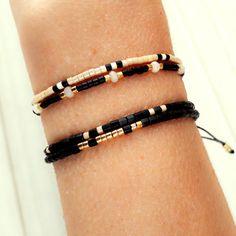 Black Beaded Bracelet Friendship Bracelet Beaded by ToccoDiLustro