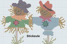 Pinterest Cross Stitch Freebies | Stickeules Freebies: Herbst scarecrows cross stitch ... | It's Fall Y ...