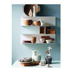 Minimalist decor can give a relaxing openness to any space - new IKEA shelves BOTKYRKA Pink Shelves, Ikea Shelves, Metal Shelves, Kitchen Shelves, Open Shelving, White Shelves, Kitchen Backsplash, Kitchen Storage, Wall Shelving