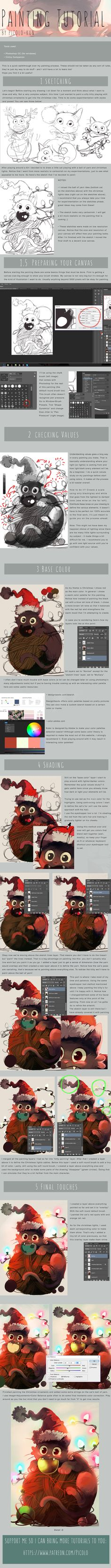 (click to enlarge!!) A long postponed tutorial! Made possible by my patrons, thanks so much for supporting my work This time I did a walkthrough of my digital painting process! It's very simple sin...