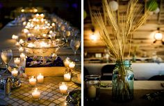 left picture. The terrace is  windy so the candles would not stay lit... LED candles would be beautiful