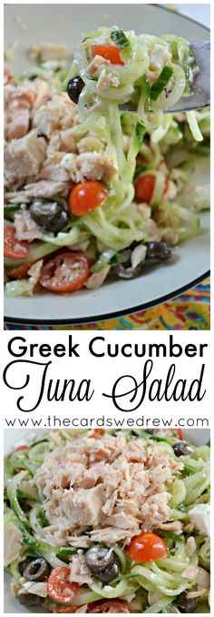 Make this easy Greek Cucumber Tuna Salad for lunch or as a side dish with @BumbleBeeSeafoods tuna, fresh spiraled cucumber, and delicious veggies! AD OnlyAlbacore