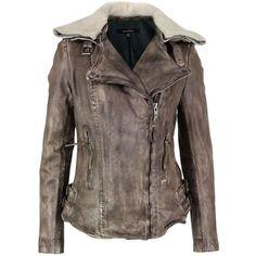 Muubaajadene Army Grey Leather Biker Jacket ($405) ❤ liked on Polyvore