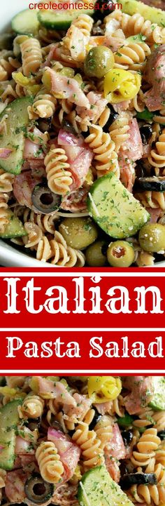 Italian Pasta Salad-Perfect dish to pass at a party. Use gluten free pasta Creole Contessa (italian salad dressings gluten free) Pasta Salat, Pesto Pasta, Masterchef, Pasta Salad Italian, Cooking Recipes, Healthy Recipes, Dishes Recipes, Bread Recipes, Pasta Salad Recipes