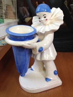 Art Deco Pierrot Clown vase harlequin blue white ceramic figurine Pierrette mime #unknown