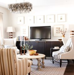 Designer Sarah Richardson's tips on creating a stylish focal point in a living room - love the artwork around the TV