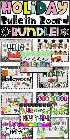 Easily decorate for the holidays with this HUGE bulletin board bundle! This bundle is filled with adorable and purposeful bulletin board decor for your classroom. This bundle includes: Bulletin Board Letters in color and black and white, Board Decor in color, High School Classroom, Classroom Walls, Kindergarten Classroom, Classroom Themes, Classroom Organization, Holiday Bulletin Boards, Bulletin Board Letters, Diy Classroom Decorations, Inspired Learning