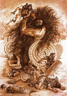 El Ojáncano es un terrible gigante de la  mitología cántabra. Tiene un solo ojo, y diez dedos en cada mano y pie. Su cuerpo es grueso como un peñasco, y grueso también el pelo de su cuerpo, rojizo y afilado como las espinas del erizo. De su barba frondosa crece un pelo blanco que al jalarlo le causa la muerte. Es un monstruo terrible que causa destrucción sin sentido a su paso.