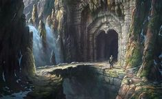 """Menegroth, the Thousand Caves, delved by the Dwarves for Thingol. """"The pillars of Menegroth were hewn in the likeness of the beeches of Oromë, stock, bough, and leaf, and they were lit with lanterns of gold. The nightingales sang there as in the gardens of Lórien; and there were fountains of silver, and basins of marble, and floors of many-coloured stones...That was the fairest dwelling of any king that has ever been east of the Sea."""""""