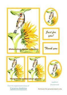 Goldfinch avec carte numérique tournesol. Papier imprimable, papier artisanal, carte de voeux, carte postale, éphémère, junk journal, collage, scrapbooking