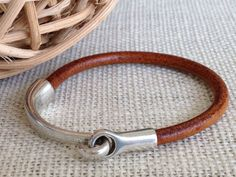 Distressed Tan Leather Bracelet, Antique Silver Hook Clasp, Leather Bangle, Modern, Unisex on Etsy, $28.00