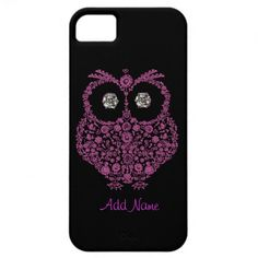 OWL I Phone 5 Case  BLING  BLACK AND PINK iPhone 5 Cover