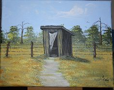 Original Painting feauting a hand painted Outhouse