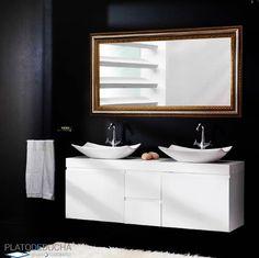 Mueble de baño con doble lavabo Lupi. Este mueble de madera esta hecho a mano y podemos adaptarnos a cuales sean tus medidas