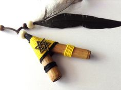 Kuripe, Bright Yellow Star Kuripe, Self Applicator Kuripe. Tobacco Snuff, Rapé. Tobacco Pipe for Rapeh, Shamanic Snuff with Tribal Pouch by AUMBRATRIBE on Etsy