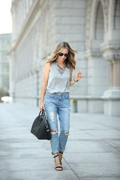 Grey Ease via BrooklynBlonde.com / @Helena Glazer Tank: Express One Eleven ℅   Denim: Express Girlfriend Jeans also love these distressed jean leggings   Shoes: Steve Madden   Bag: Givenchy   Necklace: Dylanex Wednesday, August 19, 2015